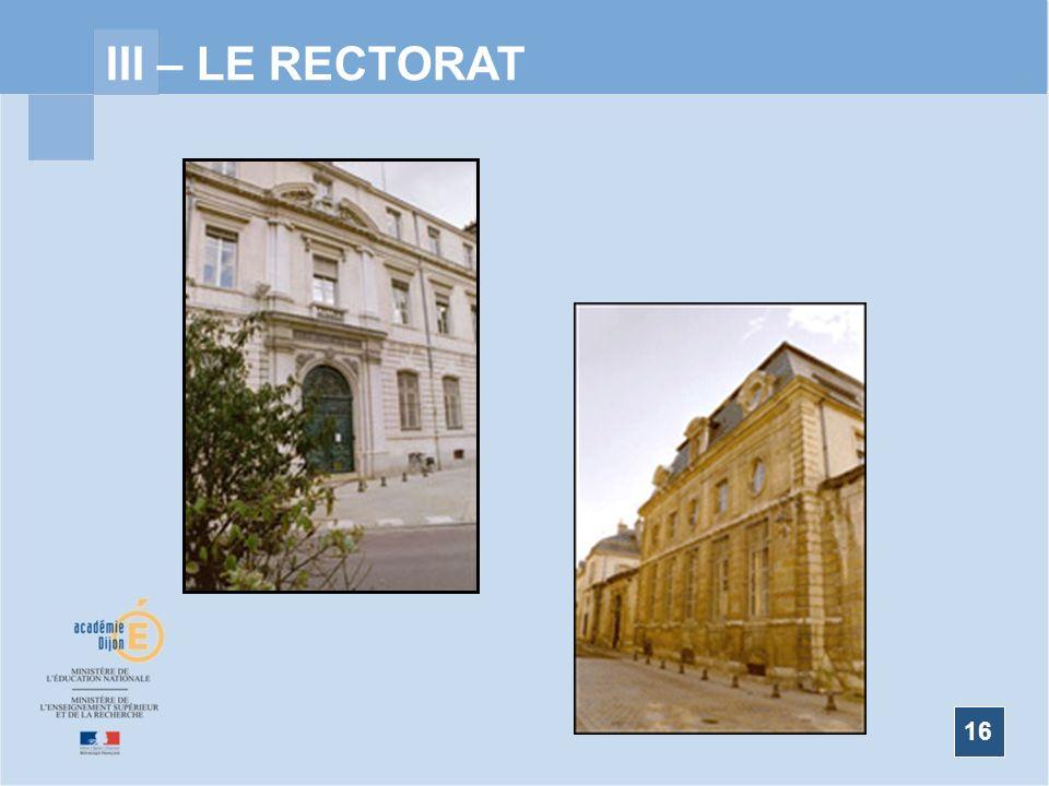 III – LE RECTORAT Organigramme 2008/2009 16