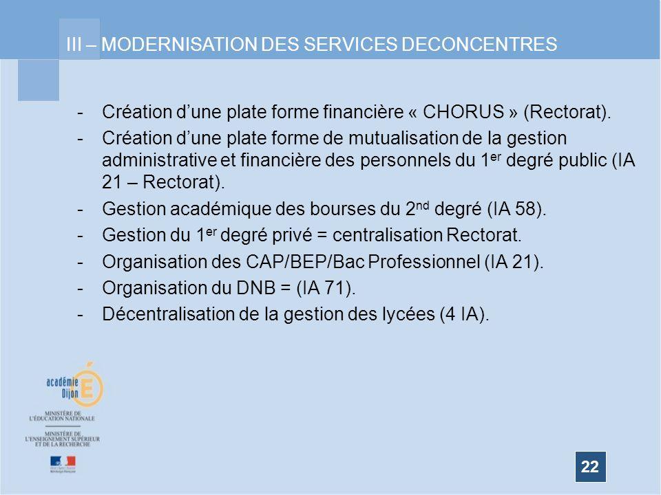 III – MODERNISATION DES SERVICES DECONCENTRES