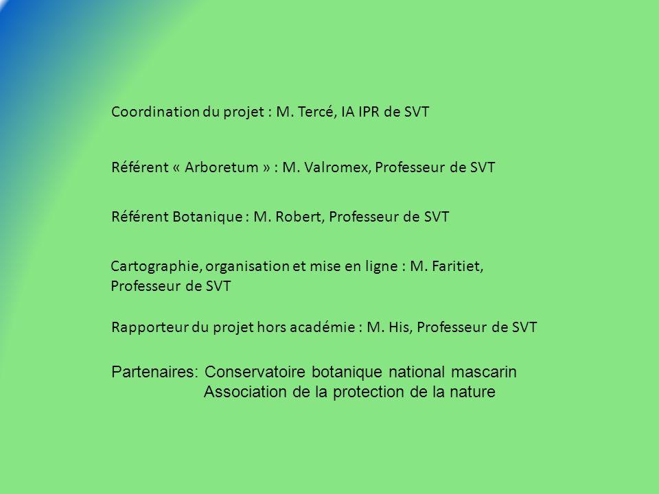 Coordination du projet : M. Tercé, IA IPR de SVT