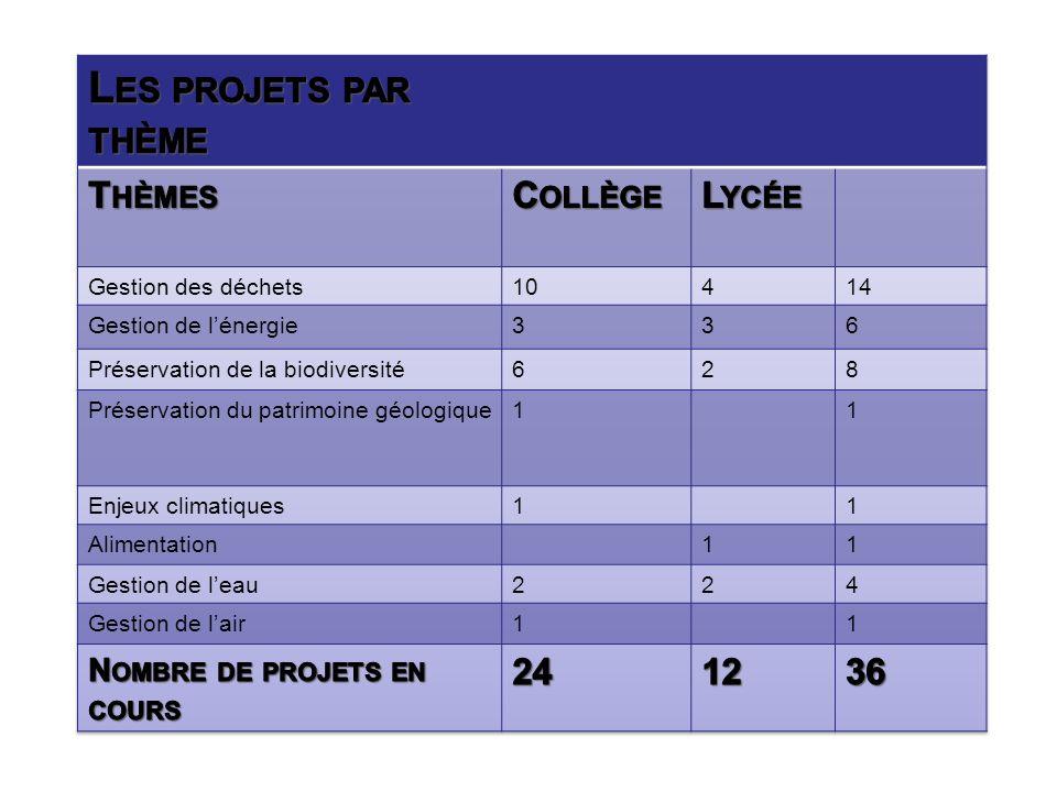 Les projets par thème Thèmes Collège Lycée 24 12 36
