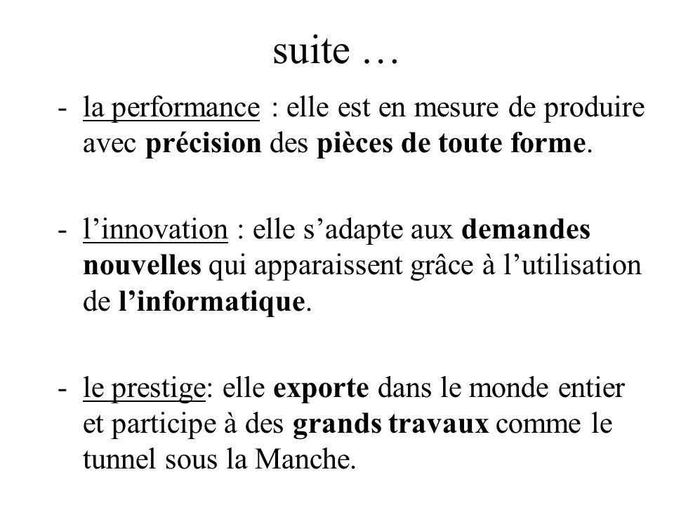 suite … la performance : elle est en mesure de produire avec précision des pièces de toute forme.