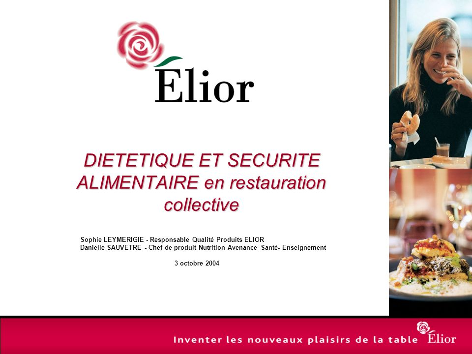DIETETIQUE ET SECURITE ALIMENTAIRE en restauration collective
