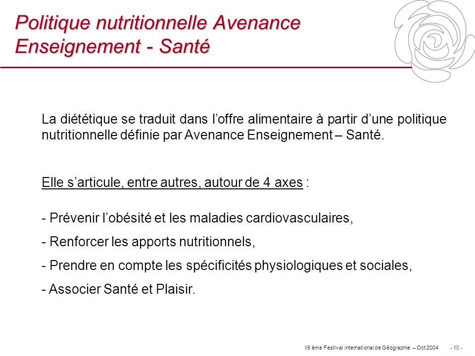 Politique nutritionnelle Avenance Enseignement - Santé