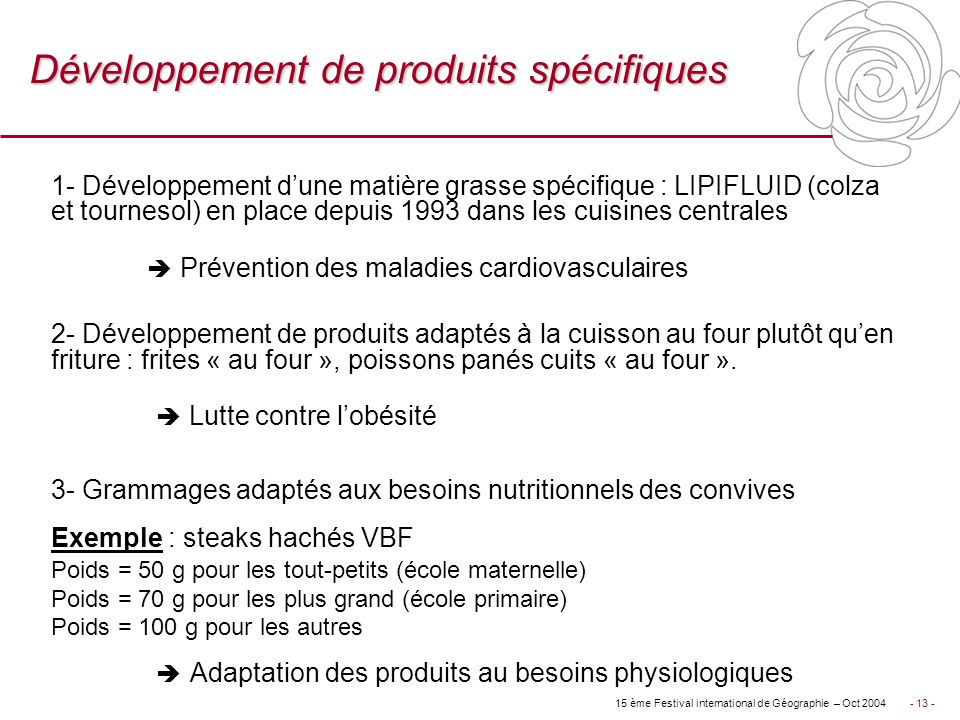 Développement de produits spécifiques
