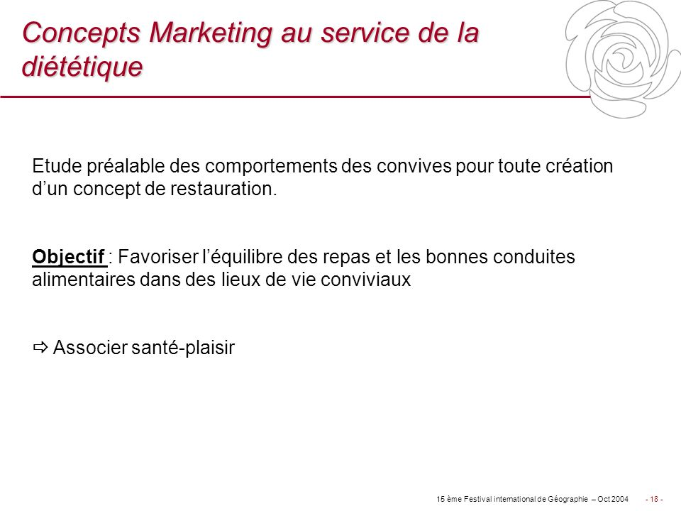 Concepts Marketing au service de la diététique
