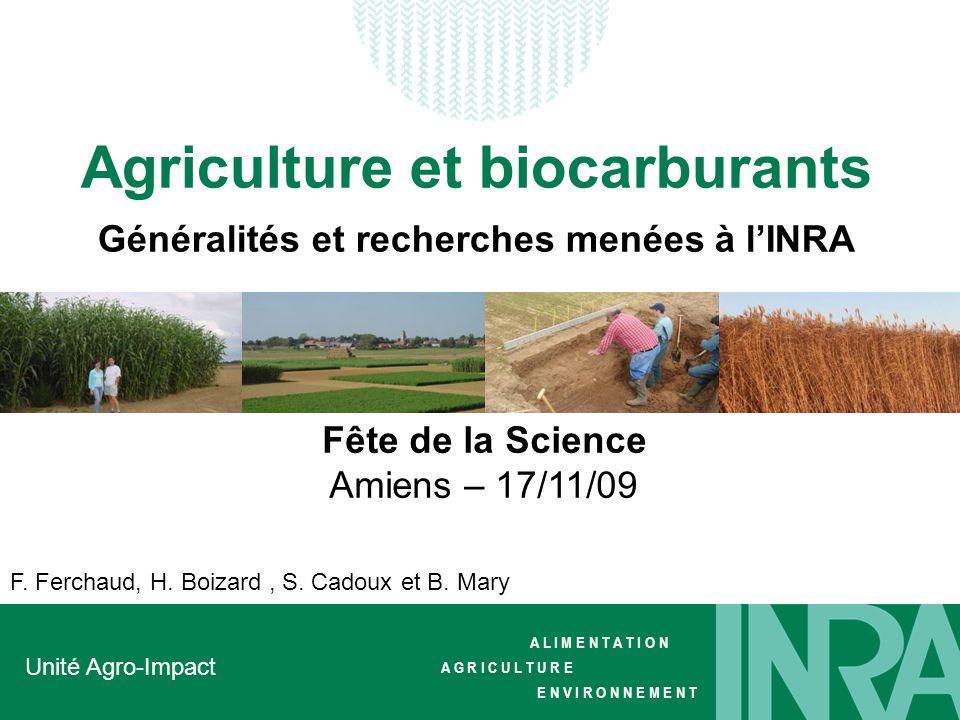 Agriculture et biocarburants Généralités et recherches menées à l'INRA