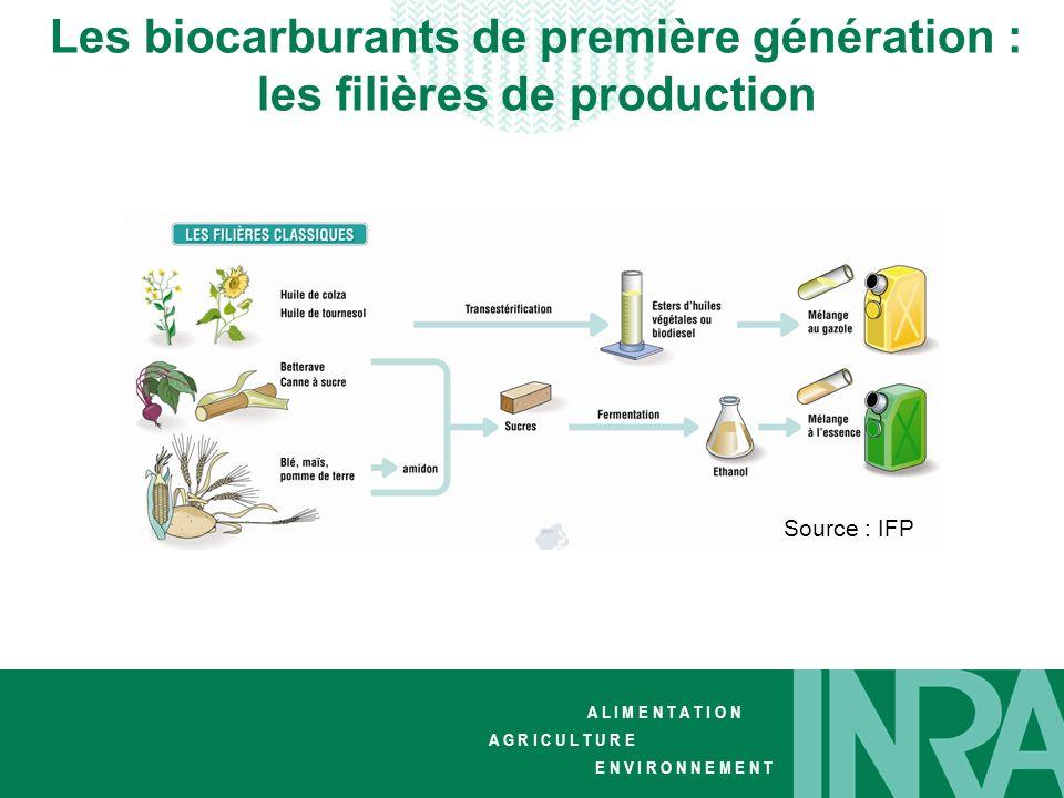 Les biocarburants de première génération : les filières de production