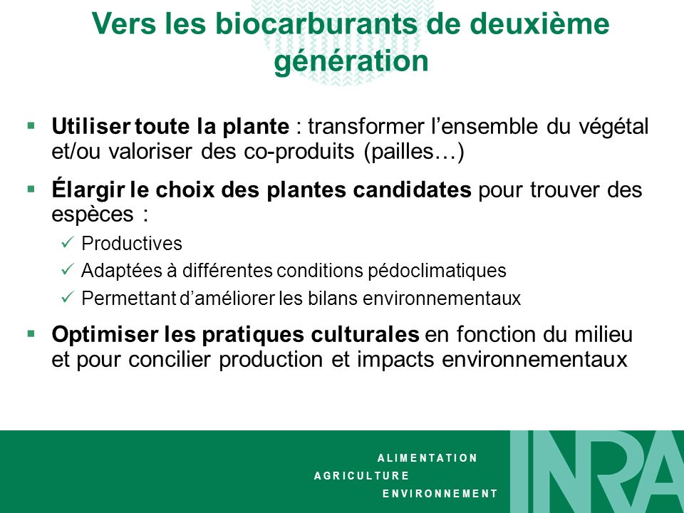 Vers les biocarburants de deuxième génération