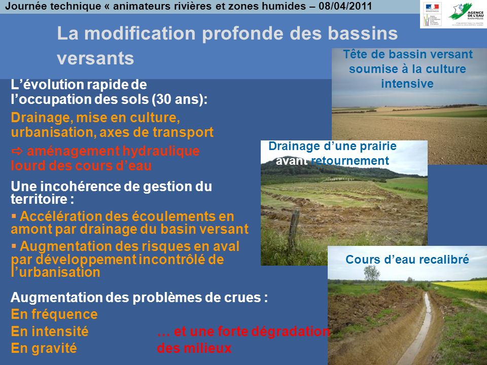 La modification profonde des bassins versants
