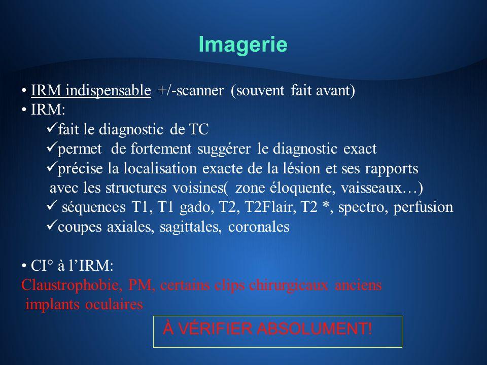 Imagerie IRM indispensable +/-scanner (souvent fait avant) IRM: