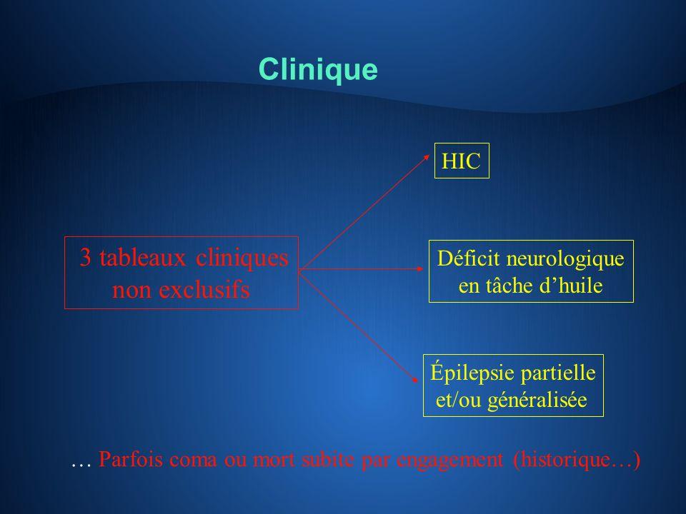 Clinique non exclusifs HIC 3 tableaux cliniques Déficit neurologique