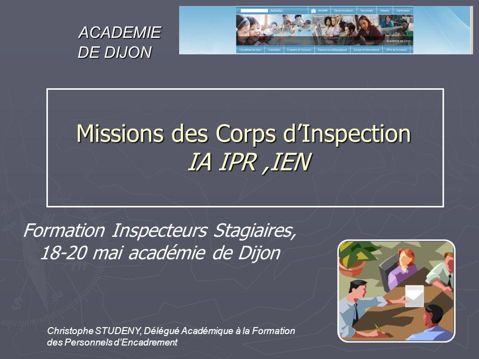 Formation Inspecteurs Stagiaires, 18-20 mai académie de Dijon