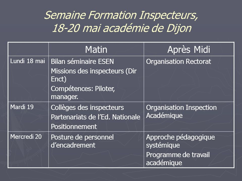 Semaine Formation Inspecteurs, 18-20 mai académie de Dijon