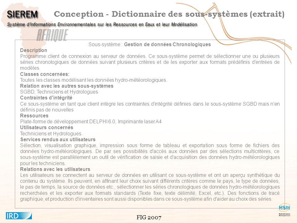 Conception - Dictionnaire des sous-systèmes (extrait)