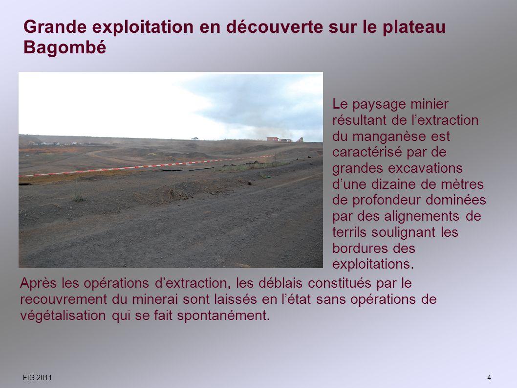 Grande exploitation en découverte sur le plateau Bagombé