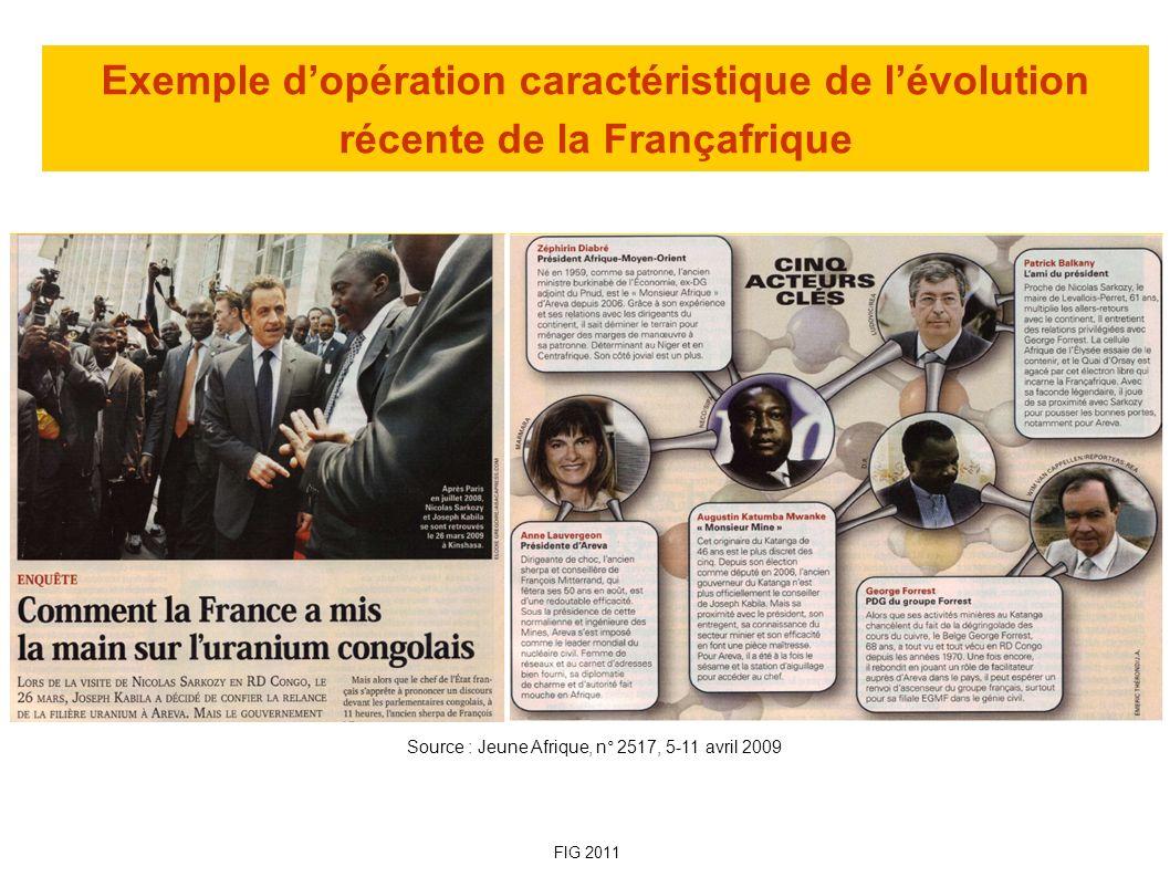 Exemple d'opération caractéristique de l'évolution récente de la Françafrique