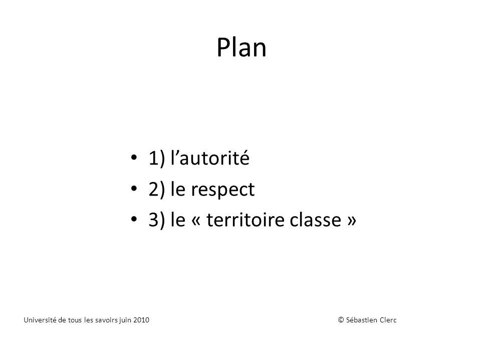 Plan 1) l'autorité 2) le respect 3) le « territoire classe »
