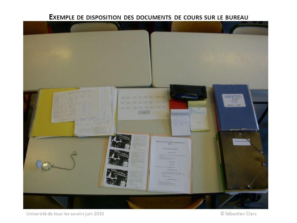 Exemple de disposition des documents de cours sur le bureau