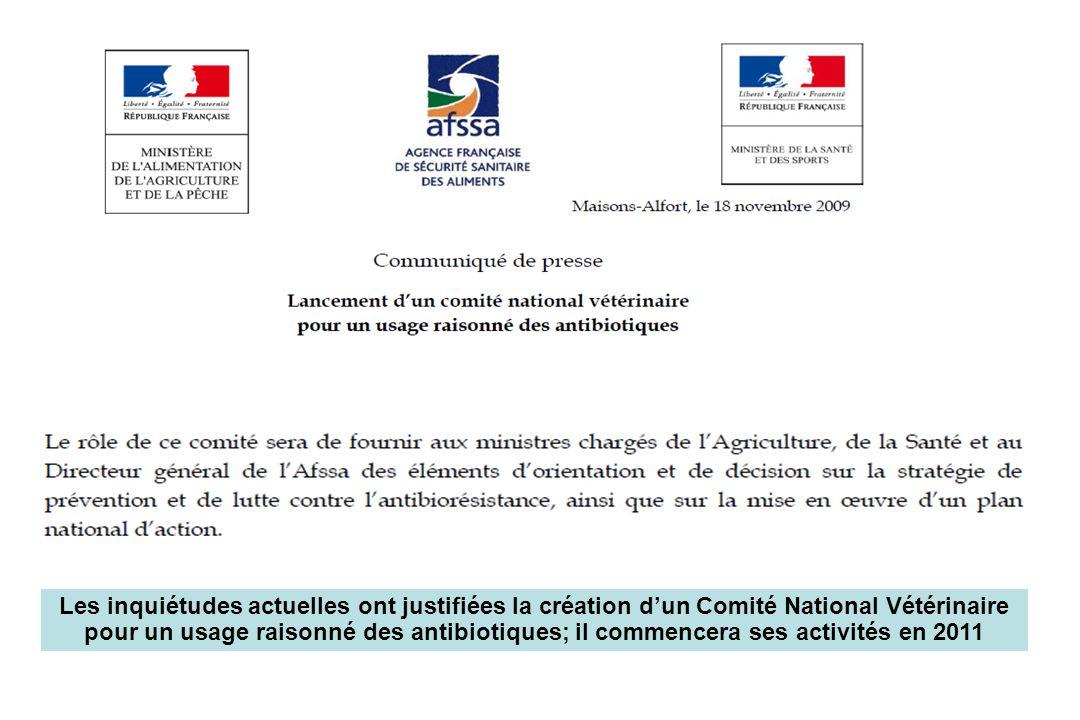 Les inquiétudes actuelles ont justifiées la création d'un Comité National Vétérinaire pour un usage raisonné des antibiotiques; il commencera ses activités en 2011