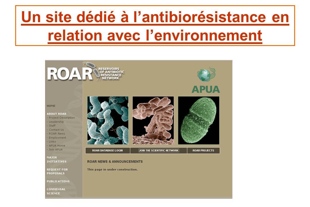 Un site dédié à l'antibiorésistance en relation avec l'environnement