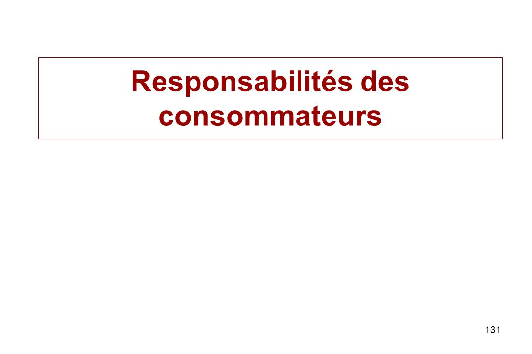 Responsabilités des consommateurs