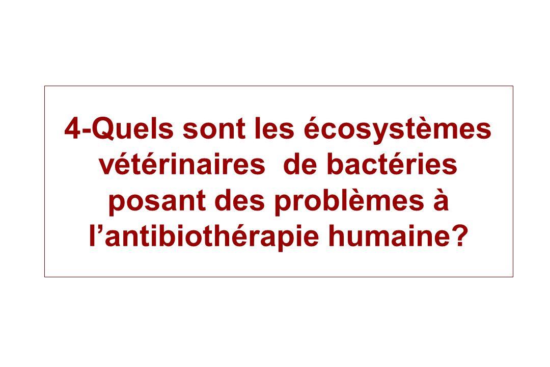 4-Quels sont les écosystèmes vétérinaires de bactéries posant des problèmes à l'antibiothérapie humaine