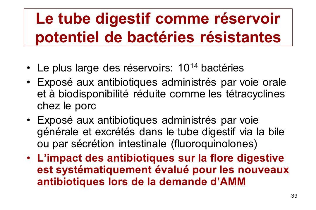 Le tube digestif comme réservoir potentiel de bactéries résistantes