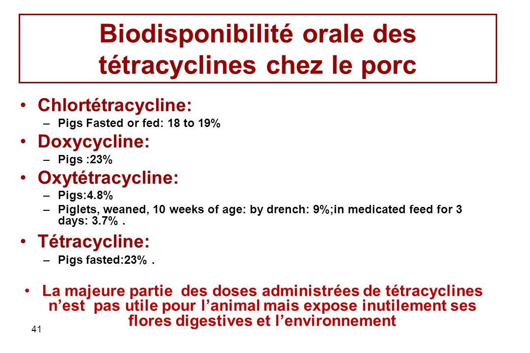 Biodisponibilité orale des tétracyclines chez le porc