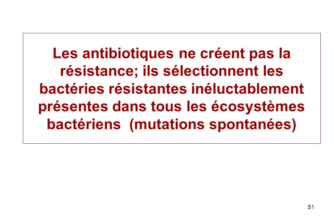 Les antibiotiques ne créent pas la résistance; ils sélectionnent les bactéries résistantes inéluctablement présentes dans tous les écosystèmes bactériens (mutations spontanées)