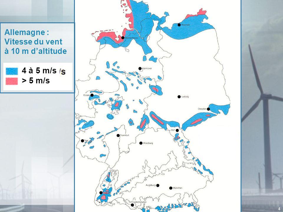 Allemagne : Vitesse du vent à 10 m d'altitude 4 à 5 m/s > 5 m/s