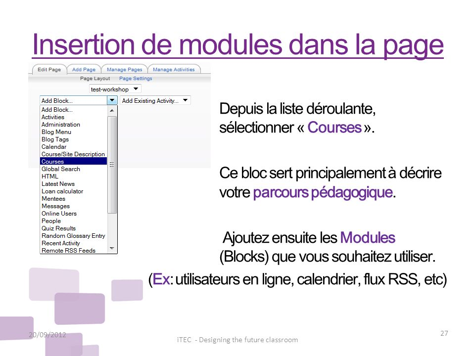Insertion de modules dans la page