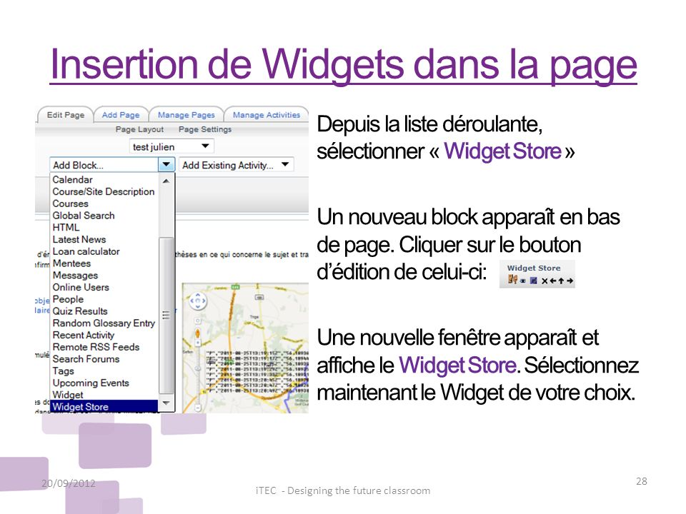 Insertion de Widgets dans la page