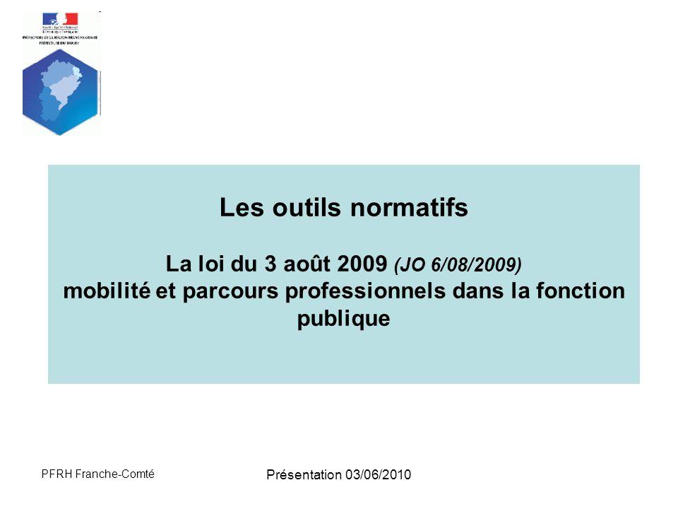Les outils normatifs La loi du 3 août 2009 (JO 6/08/2009) mobilité et parcours professionnels dans la fonction publique.