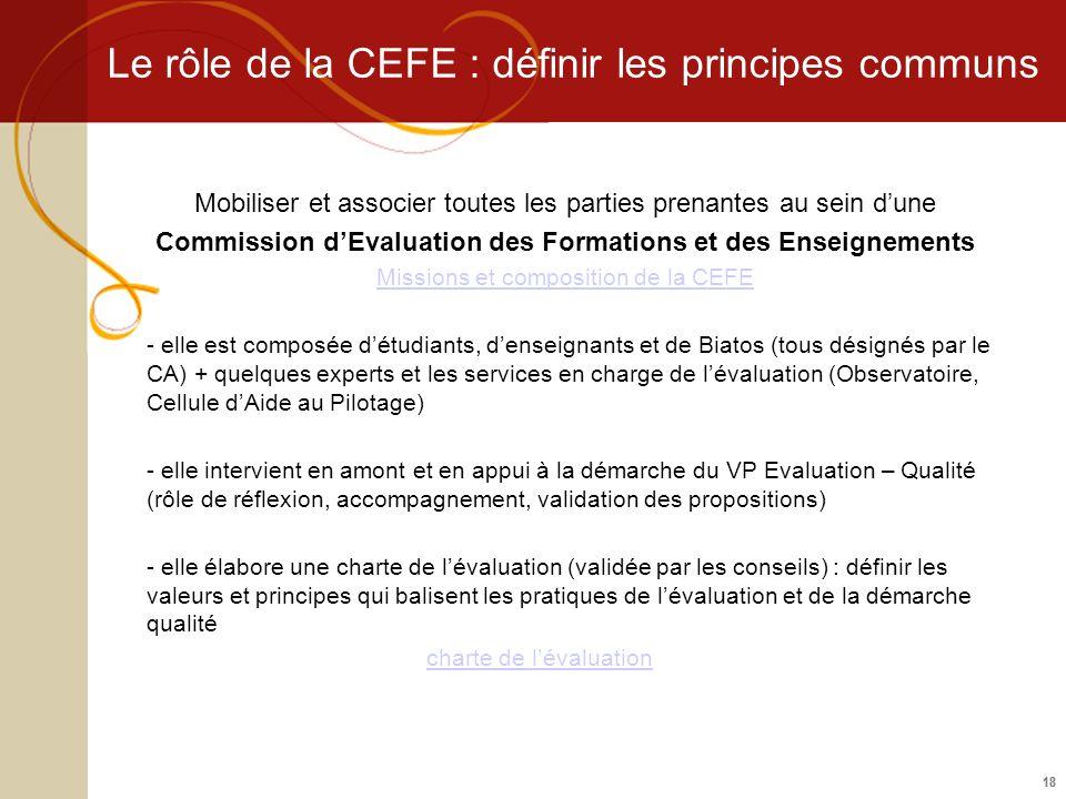 Le rôle de la CEFE : définir les principes communs