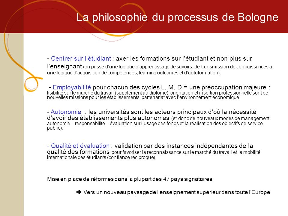 La philosophie du processus de Bologne