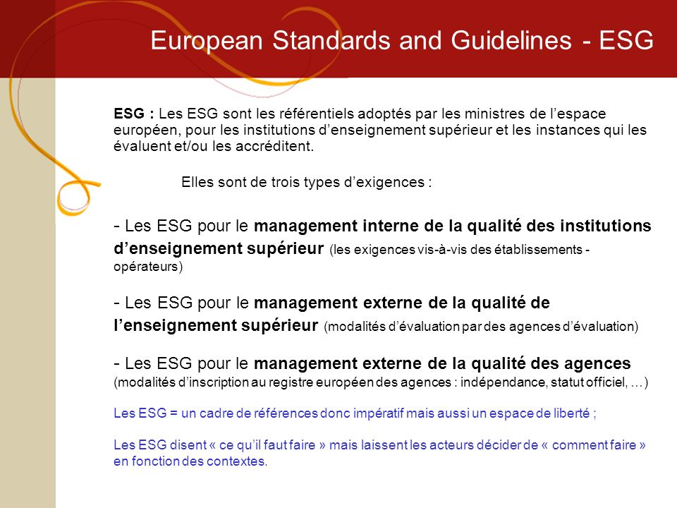 European Standards and Guidelines - ESG