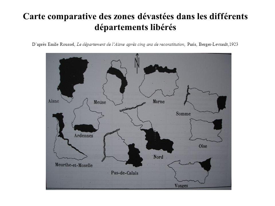 Carte comparative des zones dévastées dans les différents départements libérés D'après Emile Roussel, Le département de l'Aisne après cinq ans de reconstitution, Paris, Berger-Levrault,1923