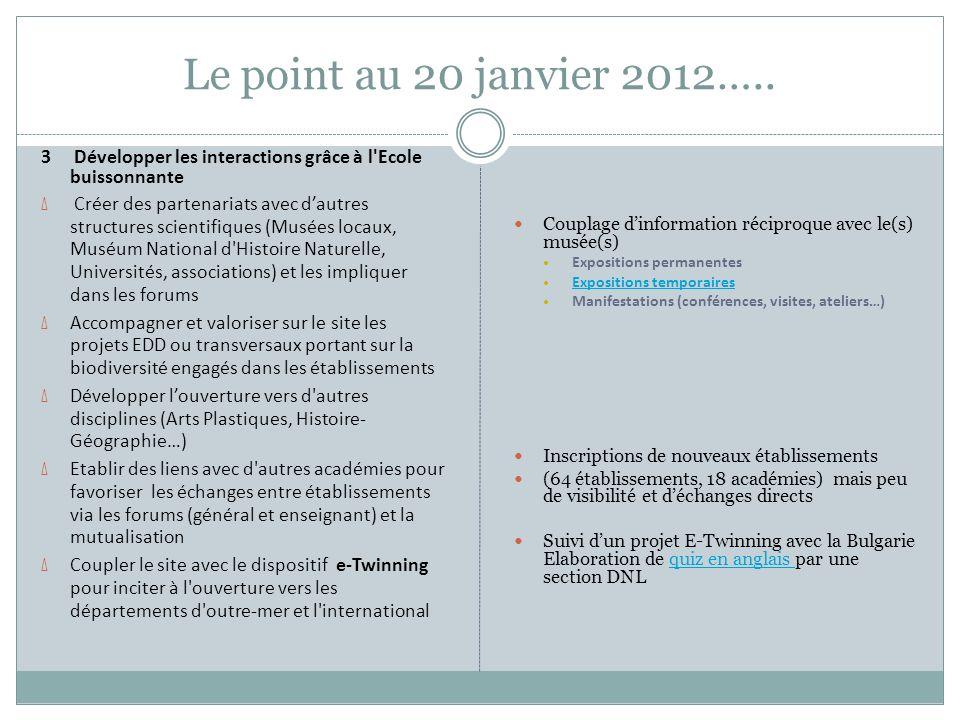 Le point au 20 janvier 2012….. 3 Développer les interactions grâce à l Ecole buissonnante.