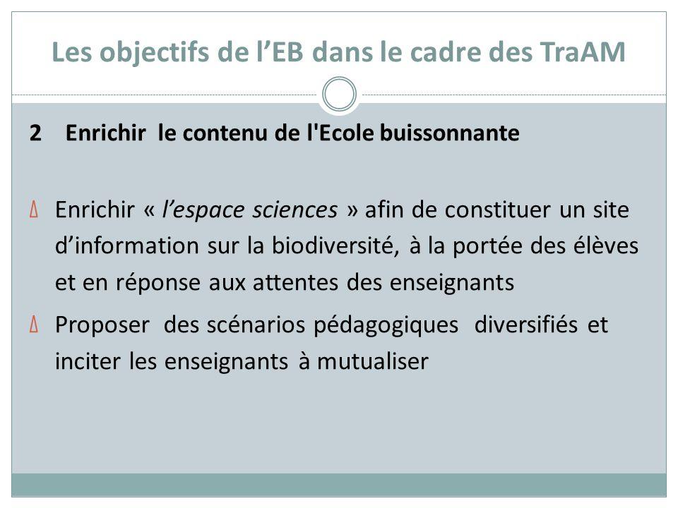 Les objectifs de l'EB dans le cadre des TraAM