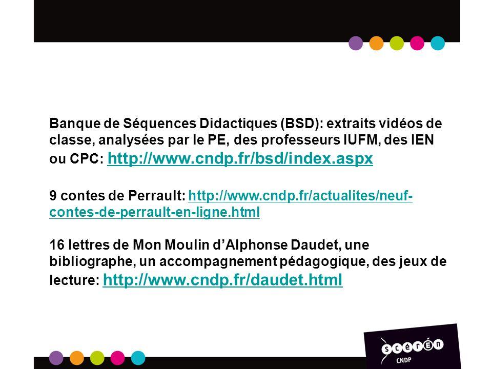 Banque de Séquences Didactiques (BSD): extraits vidéos de classe, analysées par le PE, des professeurs IUFM, des IEN ou CPC: http://www.cndp.fr/bsd/index.aspx