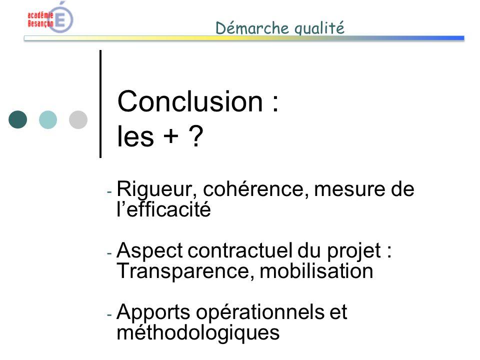Conclusion : les + Rigueur, cohérence, mesure de l'efficacité