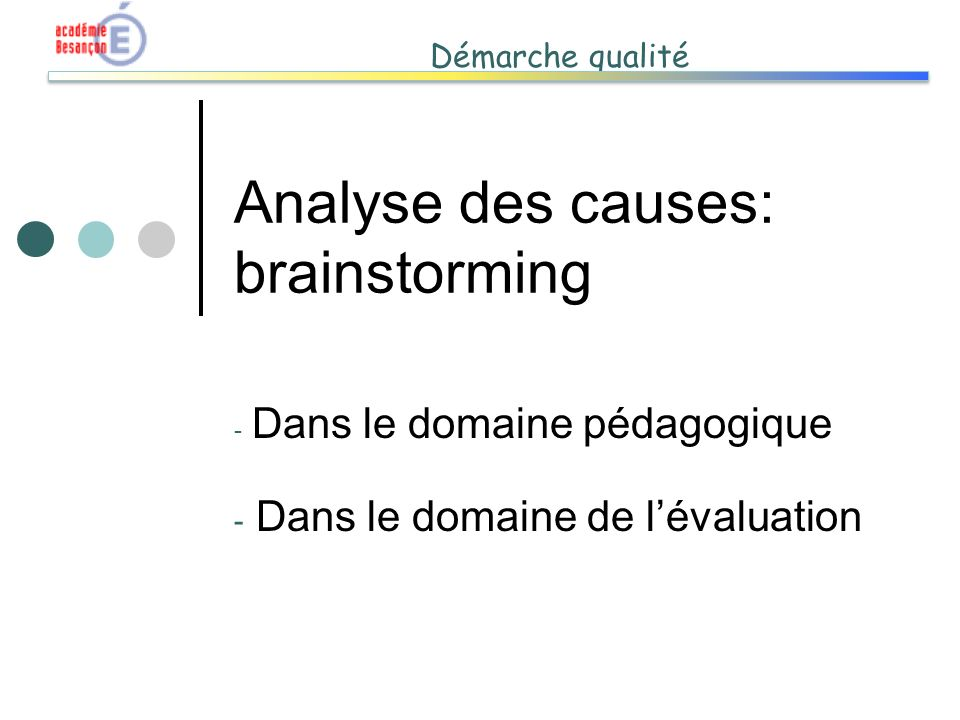 Analyse des causes: brainstorming