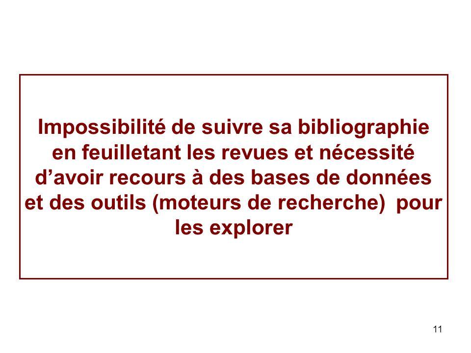 Impossibilité de suivre sa bibliographie en feuilletant les revues et nécessité d'avoir recours à des bases de données et des outils (moteurs de recherche) pour les explorer