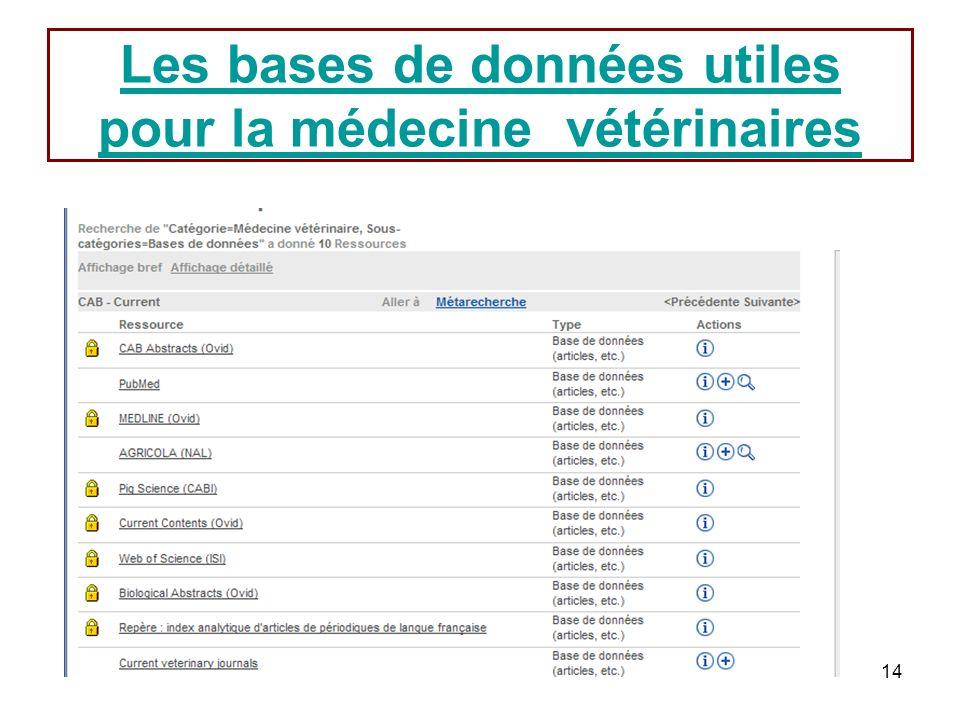 Les bases de données utiles pour la médecine vétérinaires