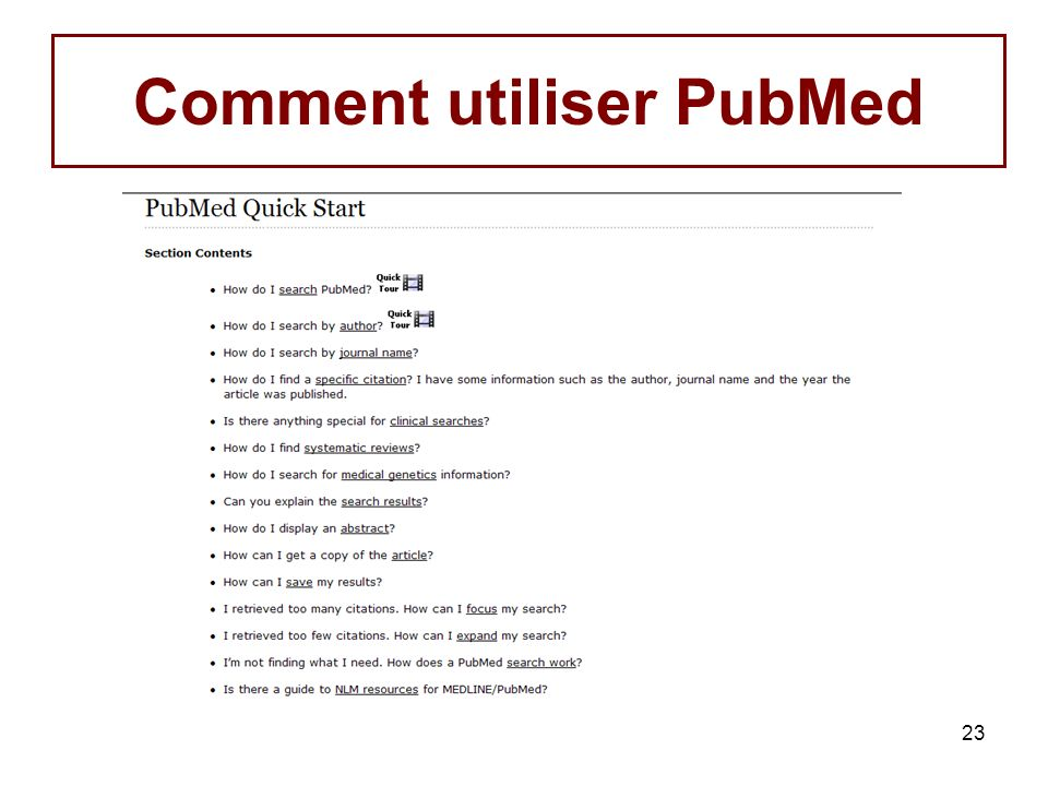 Comment utiliser PubMed