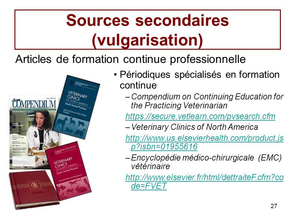 Sources secondaires (vulgarisation)