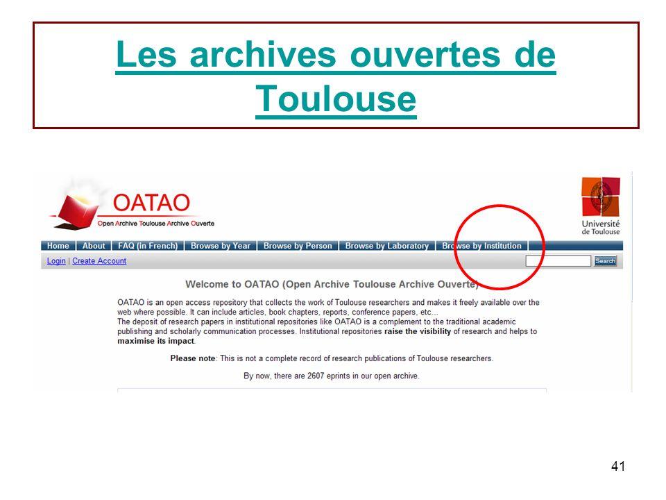 Les archives ouvertes de Toulouse