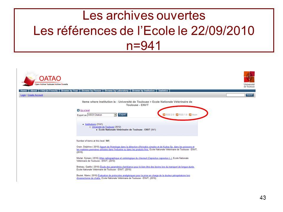Les archives ouvertes Les références de l'Ecole le 22/09/2010 n=941