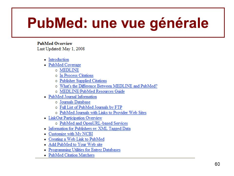 PubMed: une vue générale