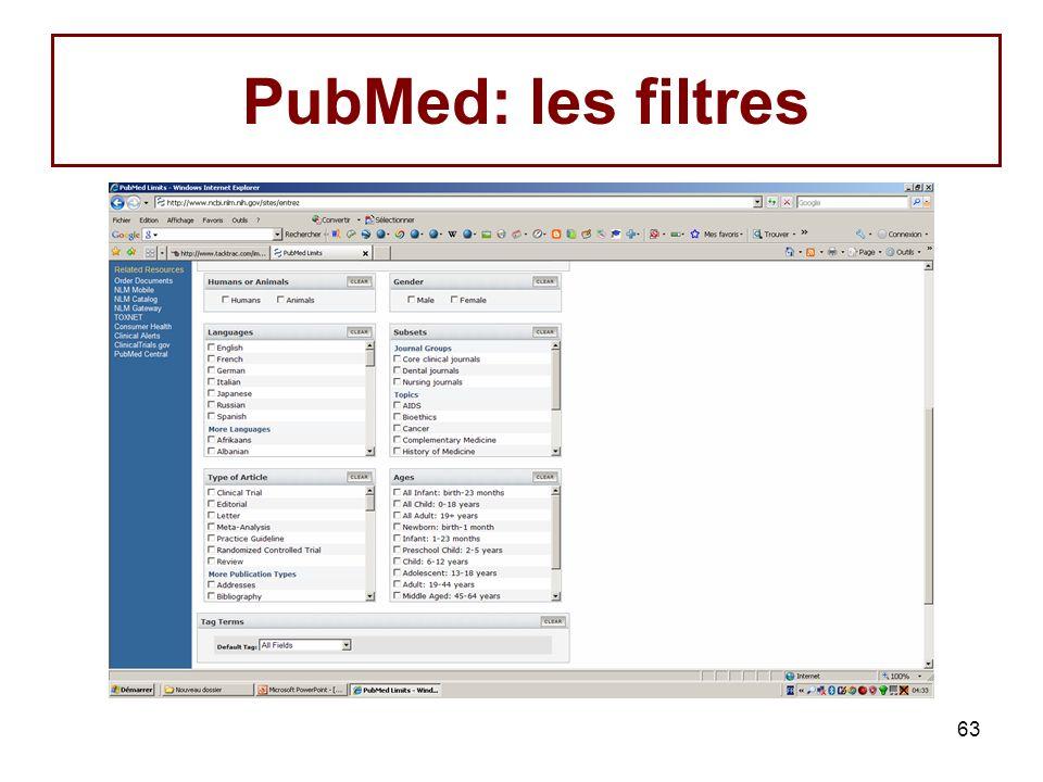 PubMed: les filtres